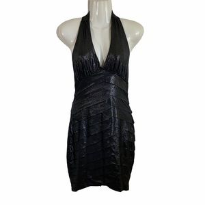 bebe halter waterfall backless metallic gray dress